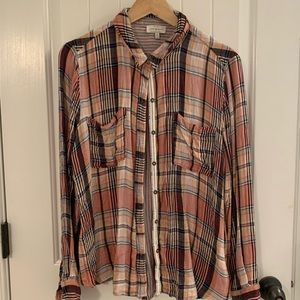 Lucky Brand Plaid Flannel Long Sleeve Button Down